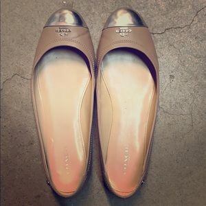 Coach beige and silver ballet flats 8.5